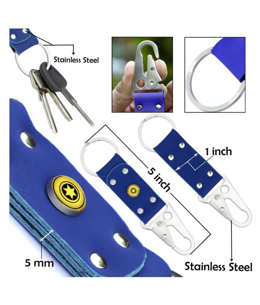 Handmade Genuine Keychain – stainless steel Hardware Belt Clip Key Ring  (KR9BL)