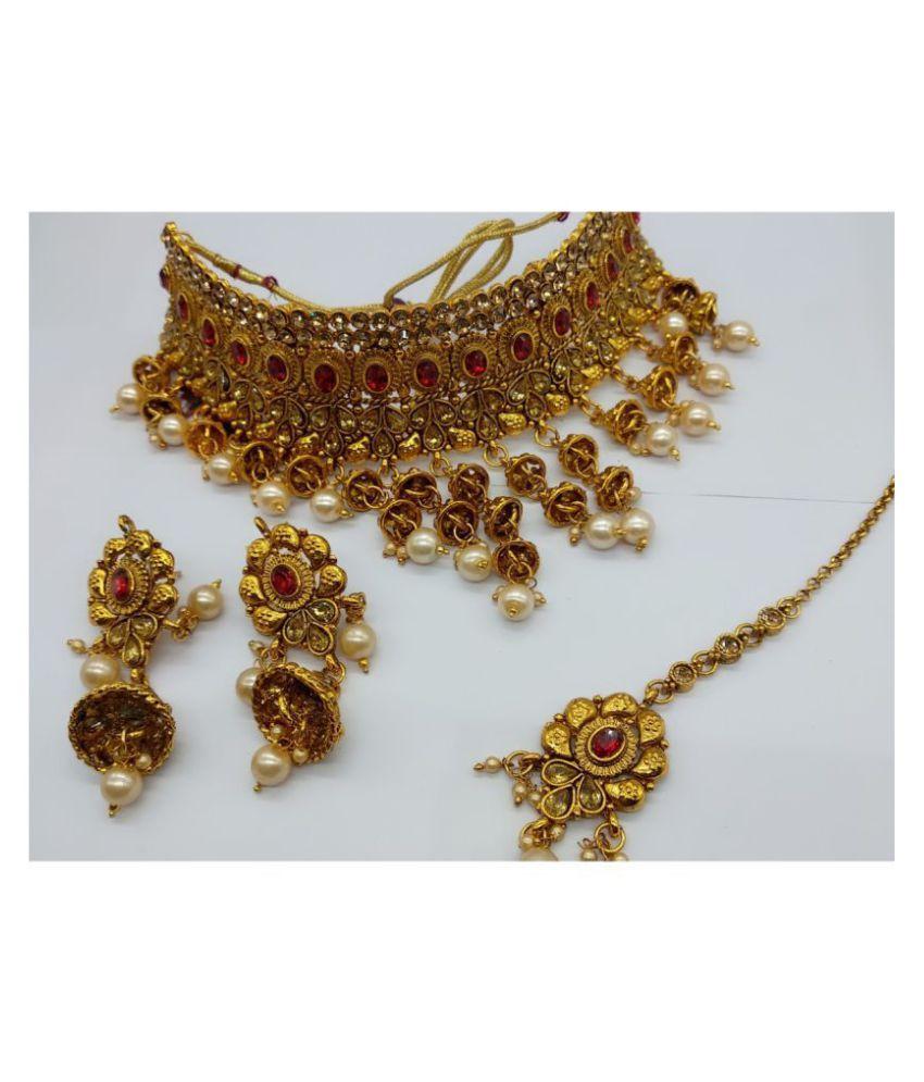 Penny Jewels Alloy Party Wear Wedding Latest Designer Fancy Necklace Set Earring With Maangtika For Women Girls