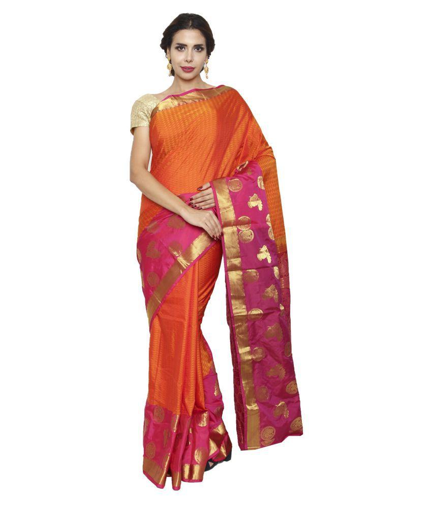 Sudarshan Silks Orange Silk Saree