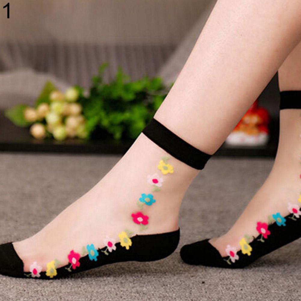 Women's Ultra-thin Transparent Rose Flower Pattern Elastic Short Ankle Socks
