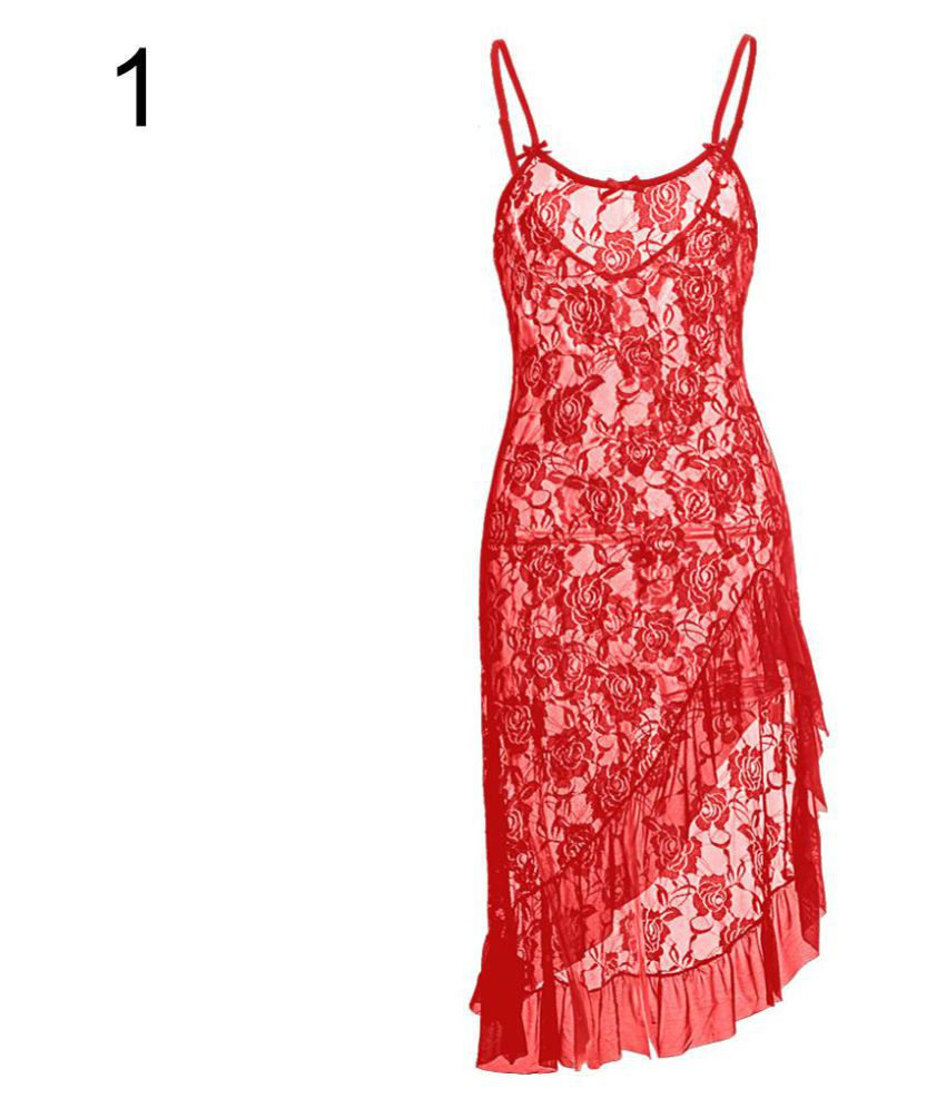 Generic Lace Nightsuit Sets - Red