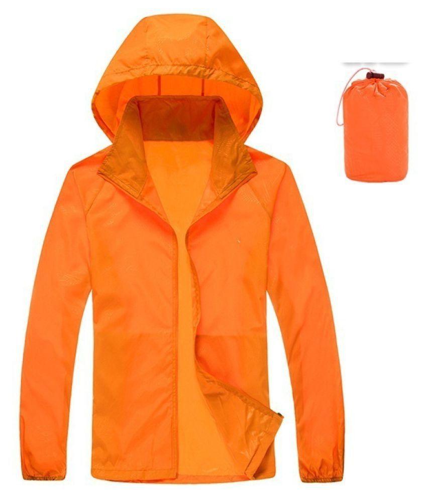 Changing Destiny Polyester Long Raincoat - Orange