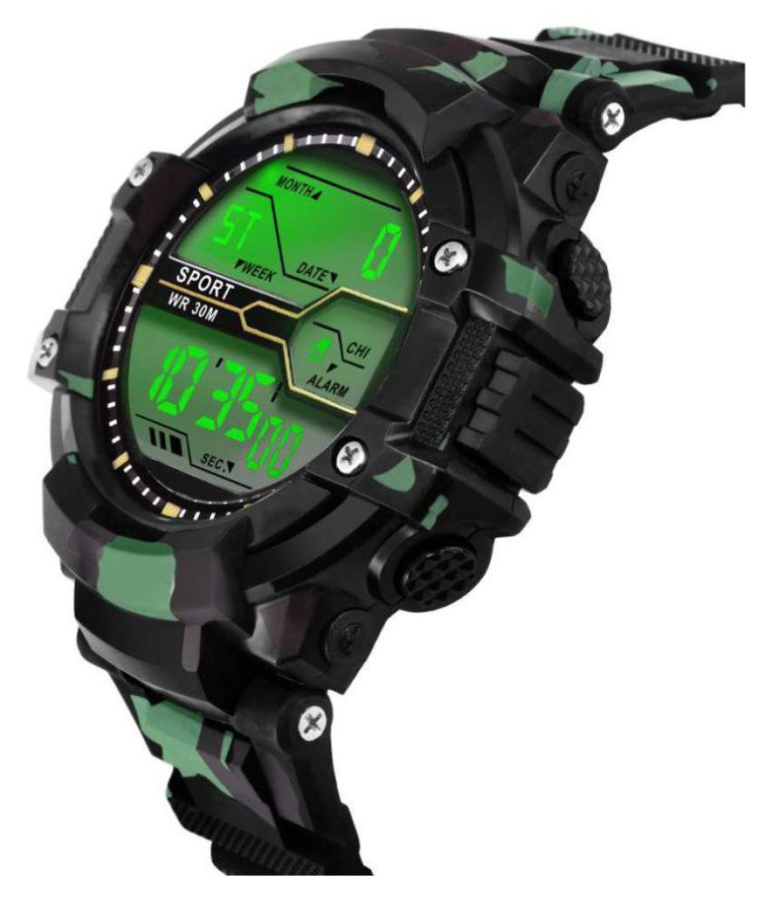 Renaissance Traders Army Silicon Analog-Digital Men's Sports Watch