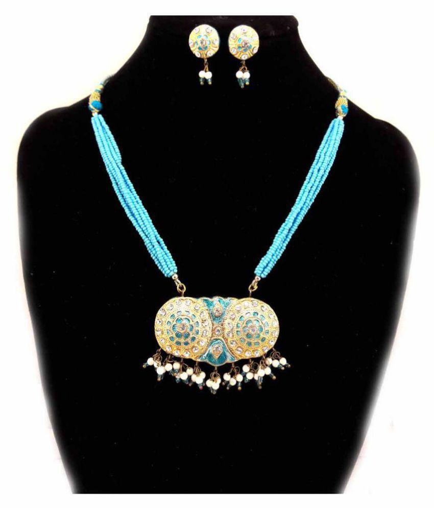 Dineshalini Creations Rajasthani  Lac Dual Blue Necklace Set