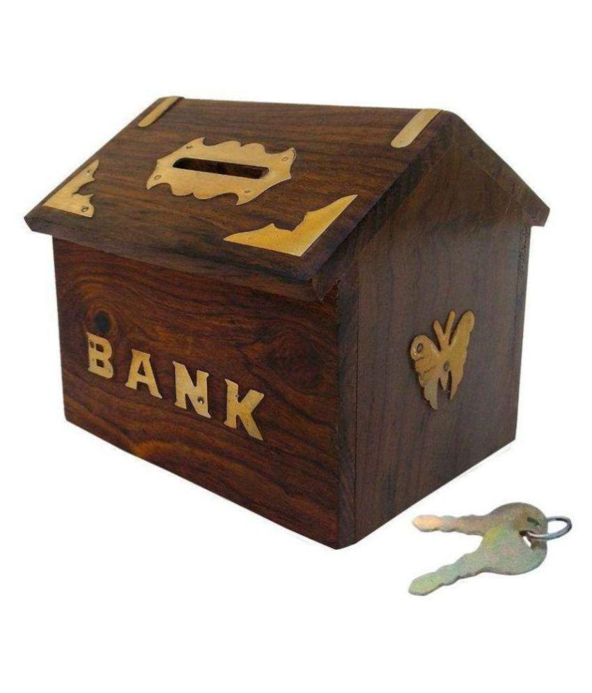 Dizardo Kraft Brown Wooden Piggy Bank