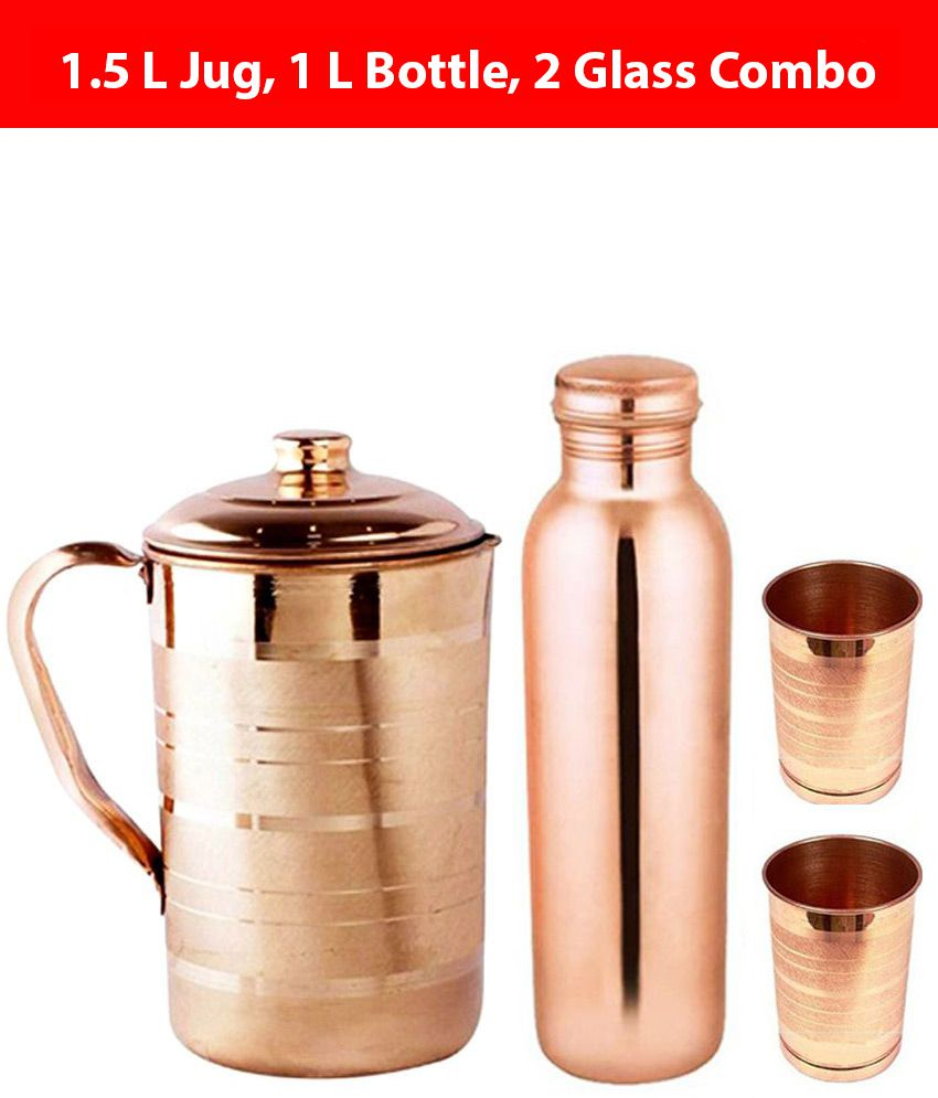 KC Brown 1000 ml Copper Water Bottle, 1500 ml Jug and 2 Glass Combo at  Snapdeal ₹ 999