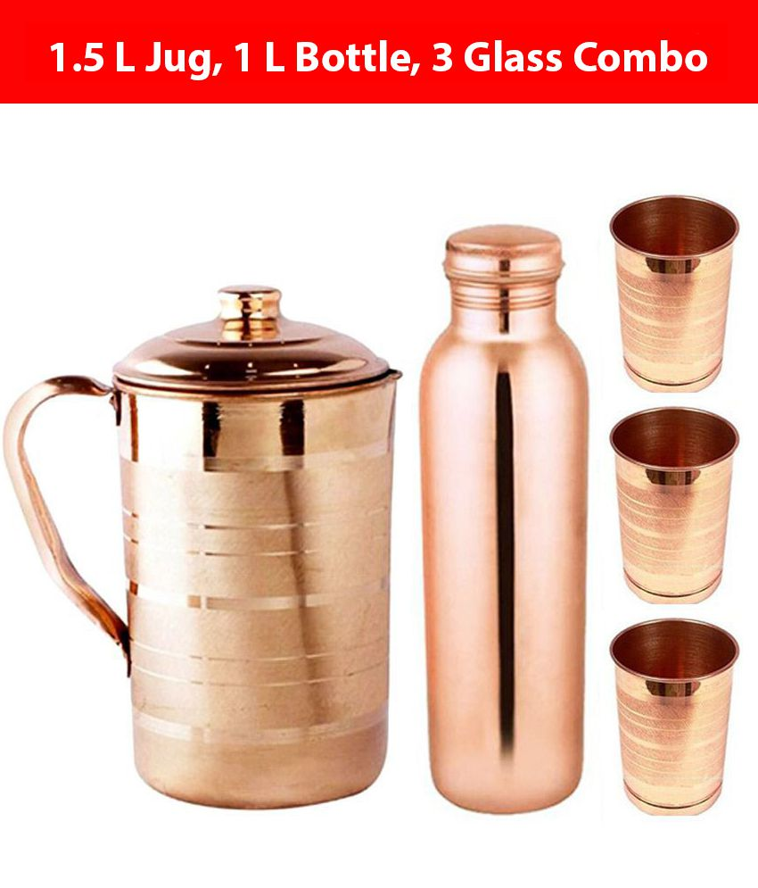 KC Brown 1000 ml Copper Water Bottle, 1500 ml Water Jug and 3 Glass Combo