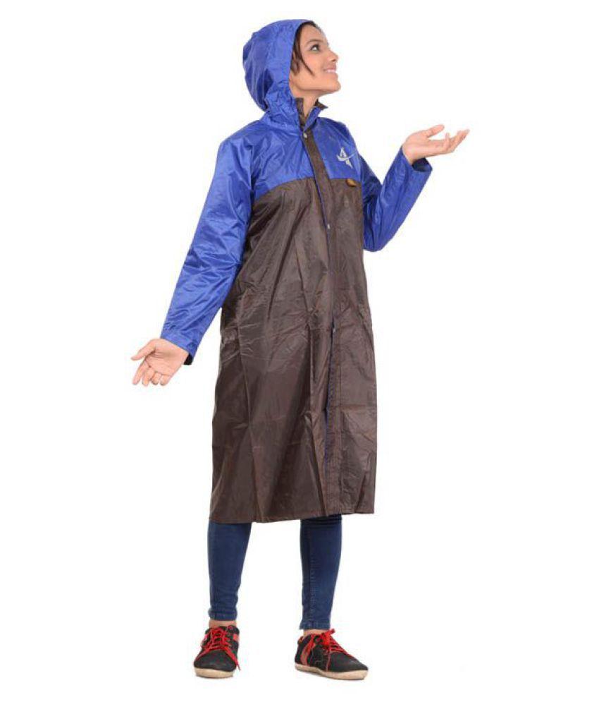 Allwin Polyester Long Raincoat - Brown