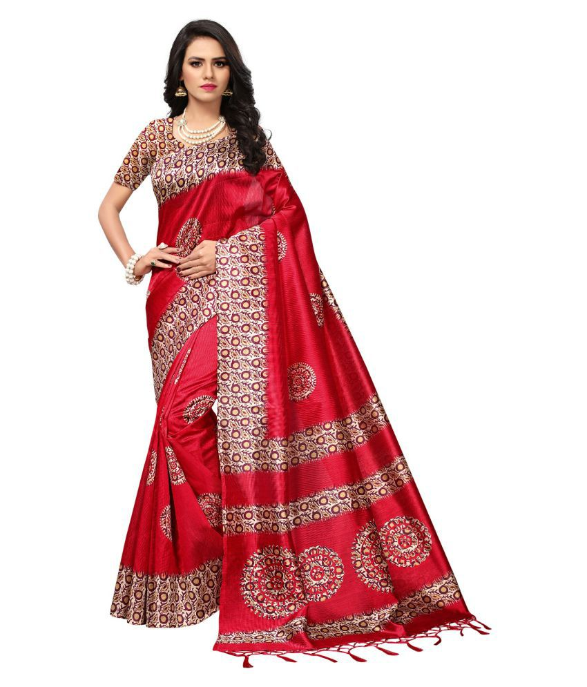 Fstore Red Cotton Silk Saree