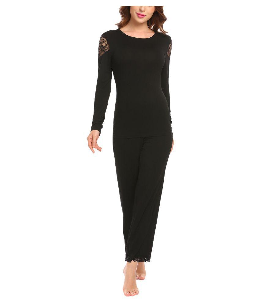 Generic Lace Nightsuit Sets - Black