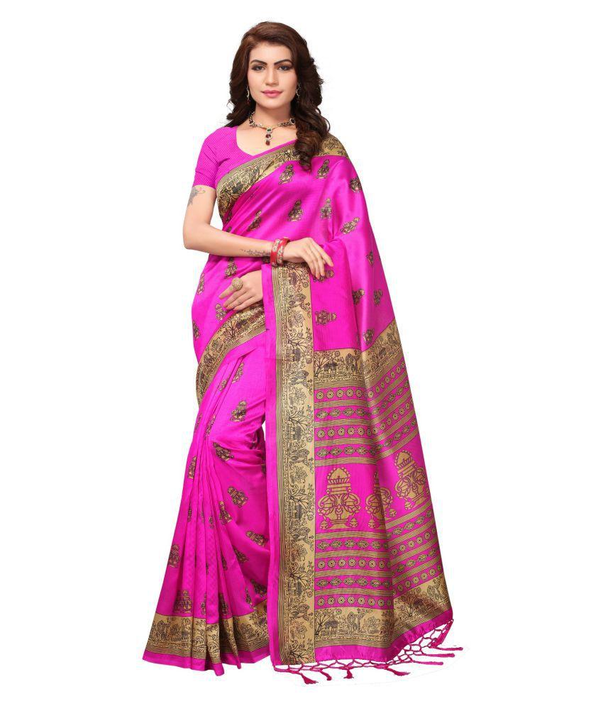 Everest Creation Pink Cotton Silk Saree