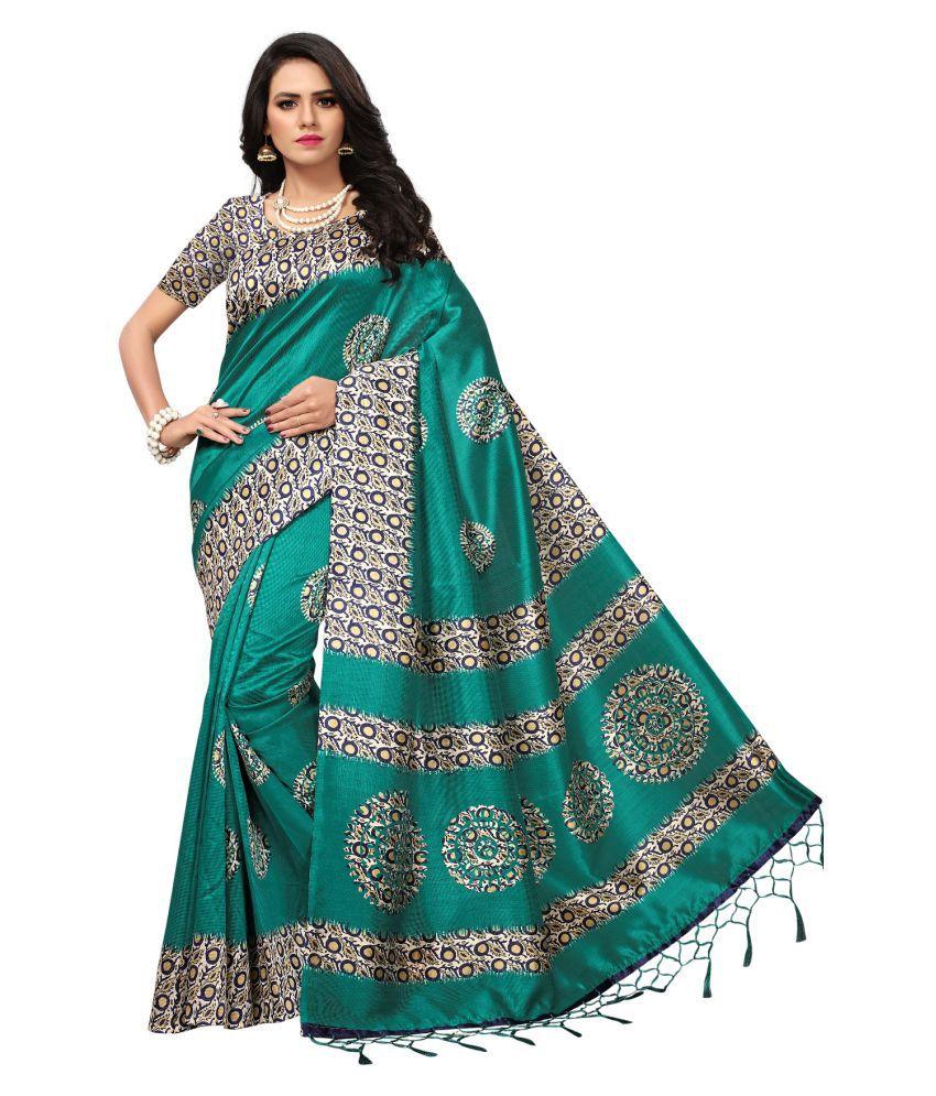 Everest Creation Turquoise Cotton Silk Saree