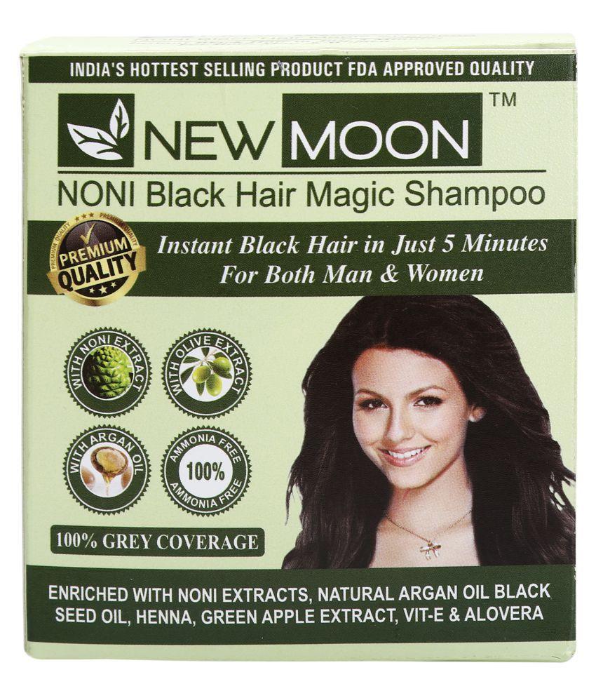New Moon Noni magic black hair colour shampoo Permanent Hair Color Black Black 15 ml Pack of 10