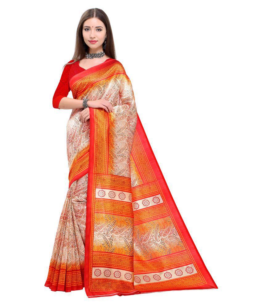 Saree Mall Beige Art Silk Saree