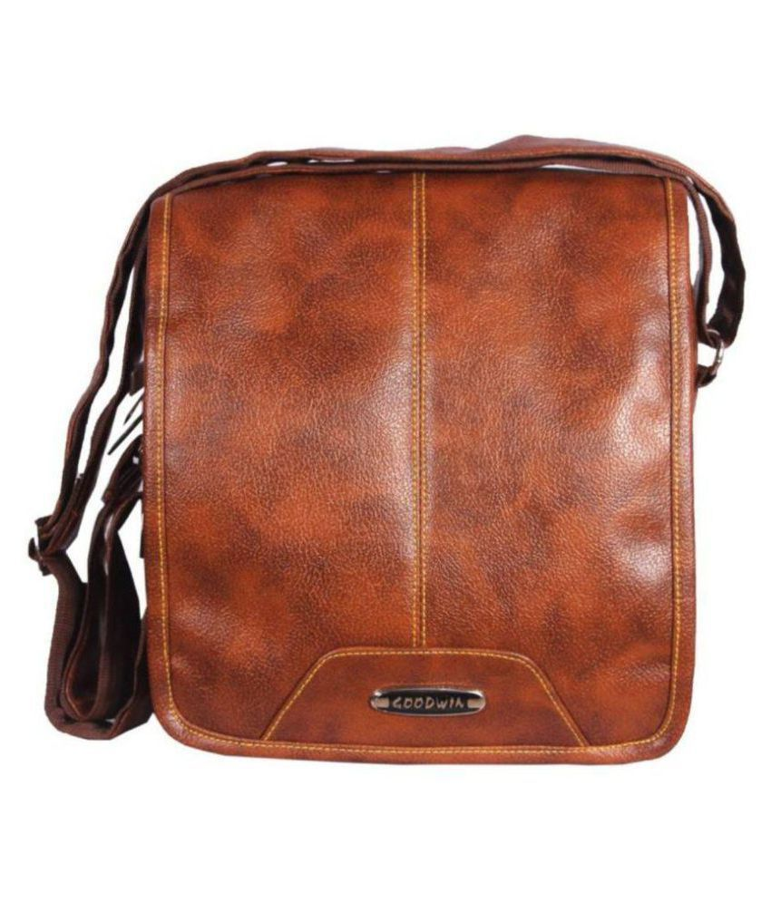 2eda6b661d Goodwin Tan Leather Office Messenger Bag Side Bag - Buy Goodwin Tan Leather  Office Messenger Bag Side Bag Online at Low Price - Snapdeal