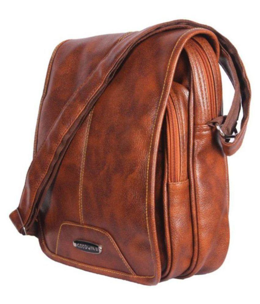 d091753e78 Goodwin Tan Leather Office Messenger Bag Side Bag - Buy Goodwin Tan ...