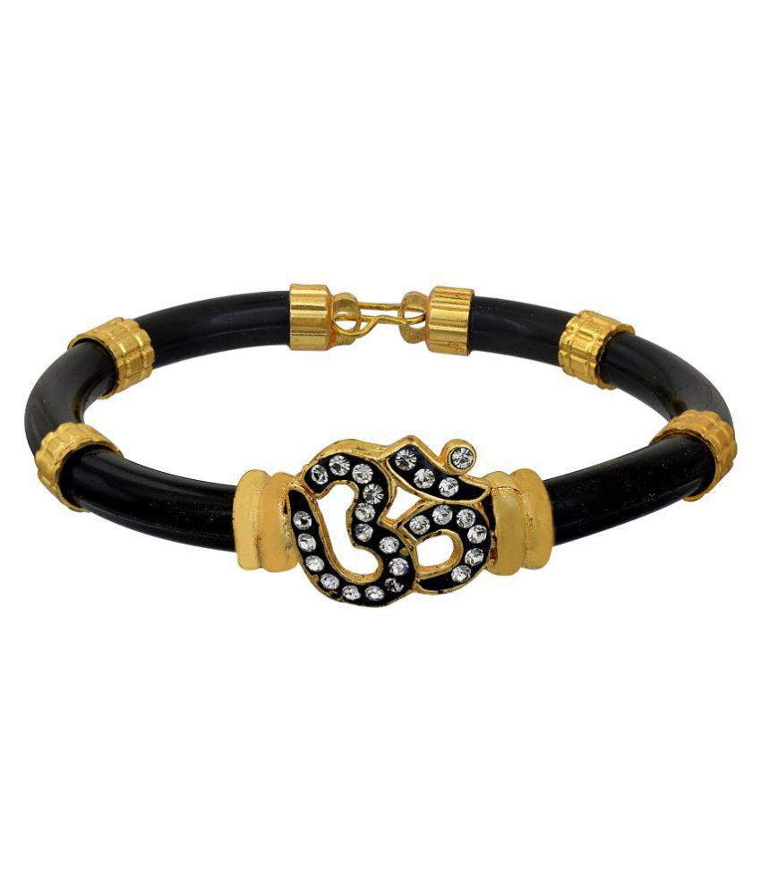 Memoir Brass Black Vinyl tube, CZ studded Om design, free size, Bangle, Cuff Kada Men