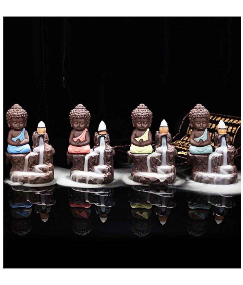 Craftam Multicolour Resin Monk Buddha Smoke Backflow - Pack of 1
