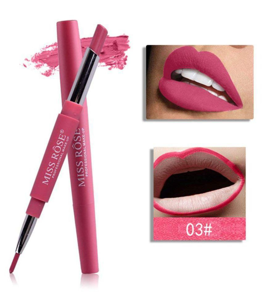 Miss Rose 2 In 1 Matte Finish Lipstick with Lip Liner (Flash of Pink Shade - 03, 2.1 gm)