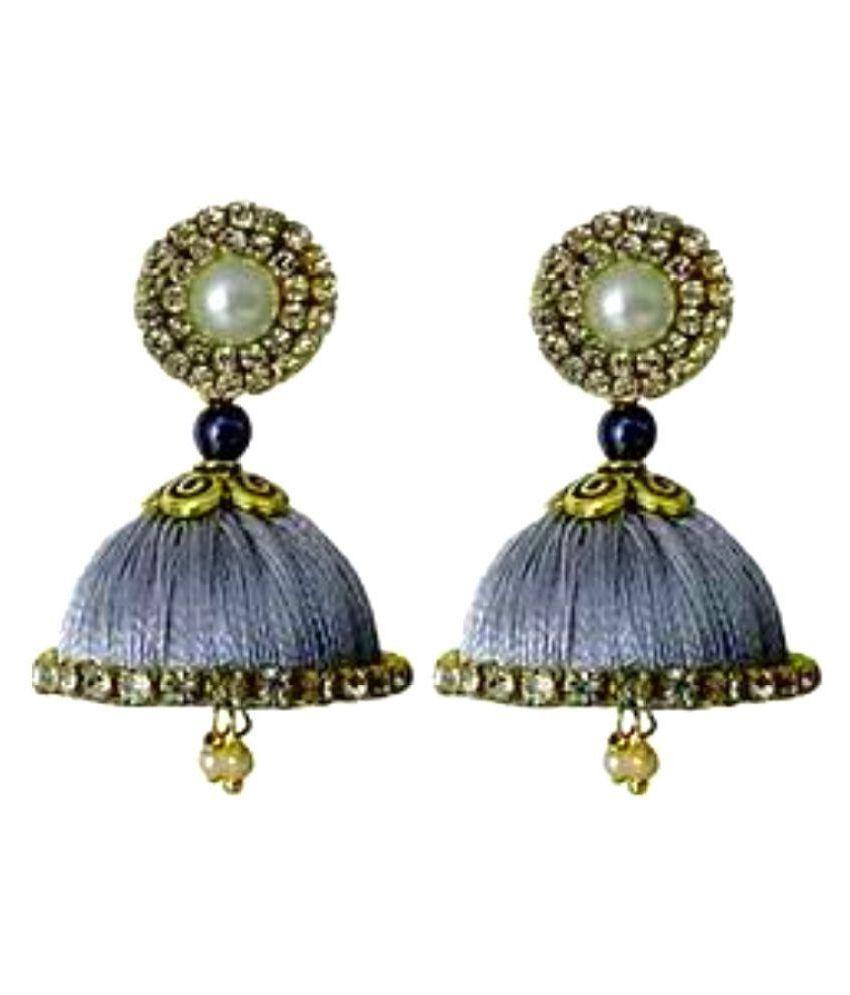 Designer silver silk jhumki earrings by AMMAJI FASHION