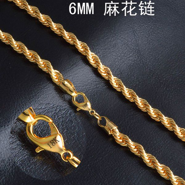 Kamalife 6MM Men Women Fashion 18K Yellow Gold Filled Rope Soft Twist Chain Necklace 16-30 Inches