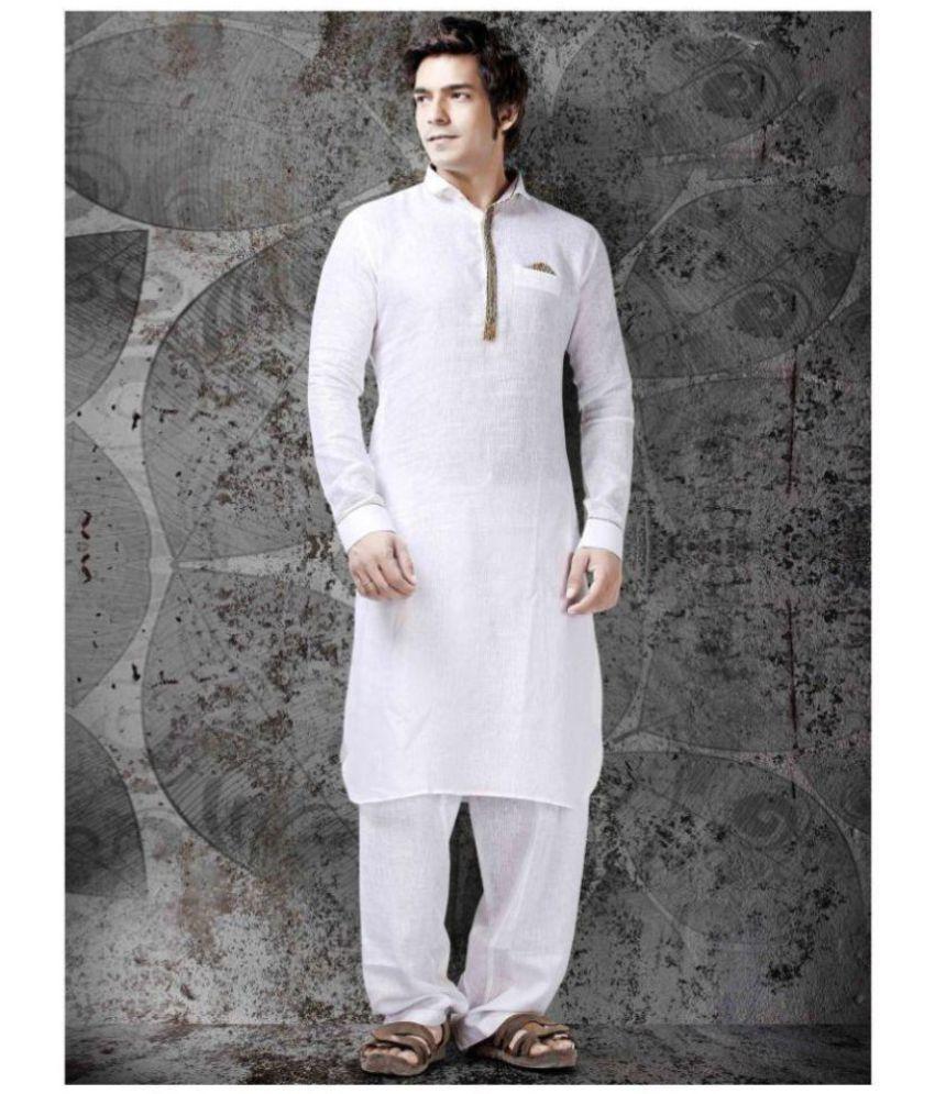 Siyaram White Linen Blended Unstiched Kurta Pyjama