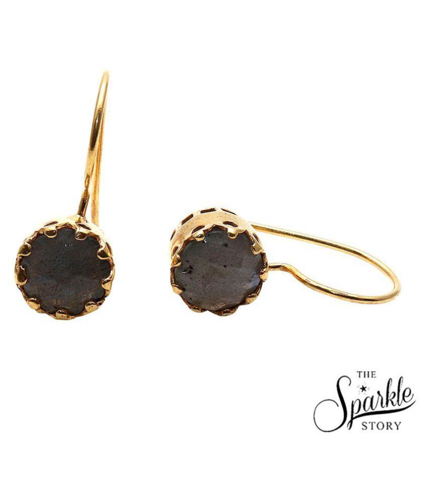 The Sparkle Story Labradorite Gold Plated Round Shape Dangle Alloy Earrings for Women and Girls