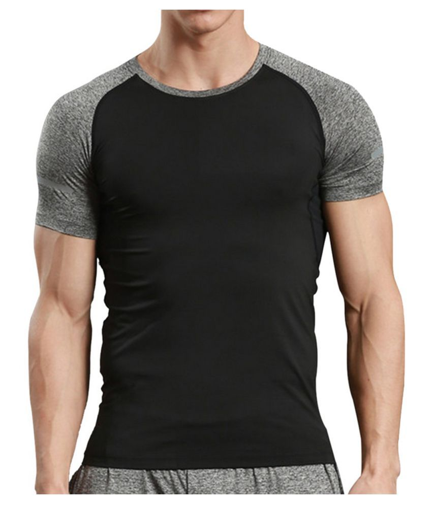 Zesteez Black Grey Half sleeves Men ultra stretchable gym-workout compression support tshirt in premium Quality fabric || compression Support || GYM || YOGA|| Active-wear || Sportswear|| cycling||Running