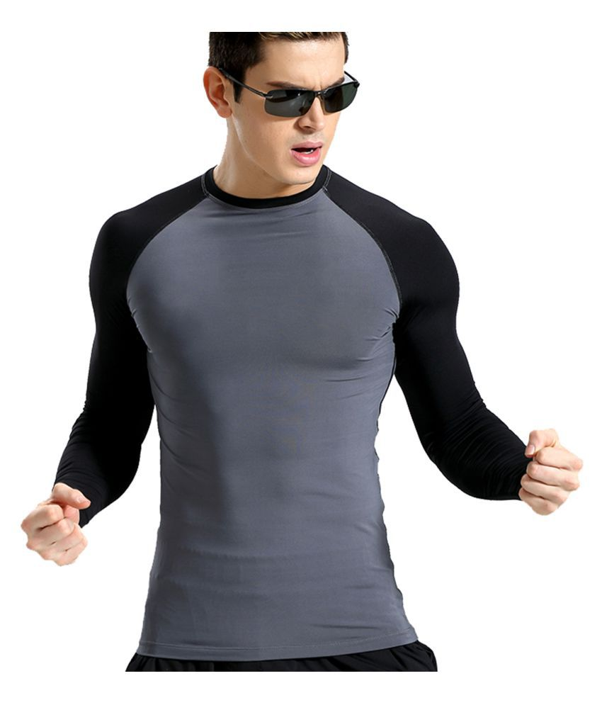 Zesteez Grey Black Full sleeves Men ultra stretchable gym-workout compression support tshirt in premium Quality fabric || compression Support || GYM || YOGA|| Active-wear || Sportswear|| cycling||Running