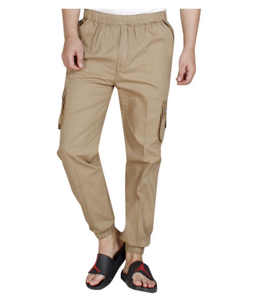 abc garments Khaki Regular -Fit Flat Joggers