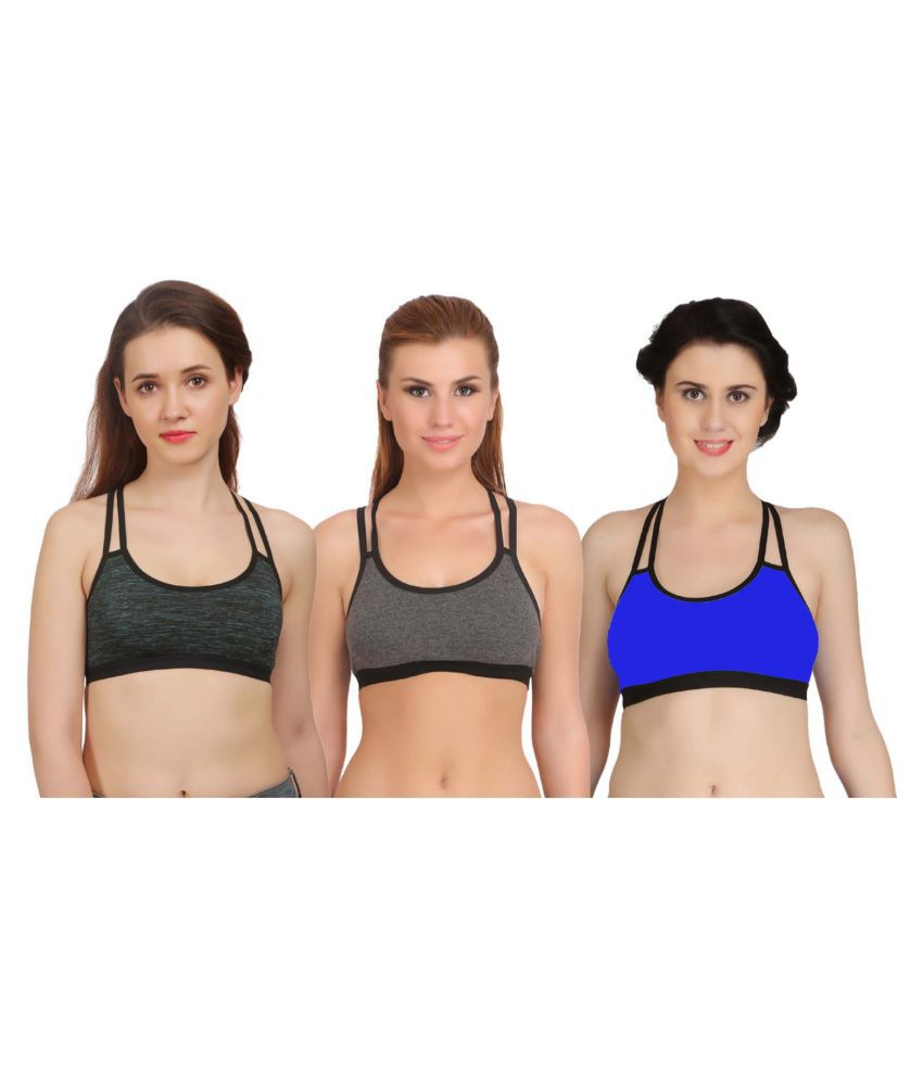 Arousy Cotton Lycra Sports Bra - Multi Color