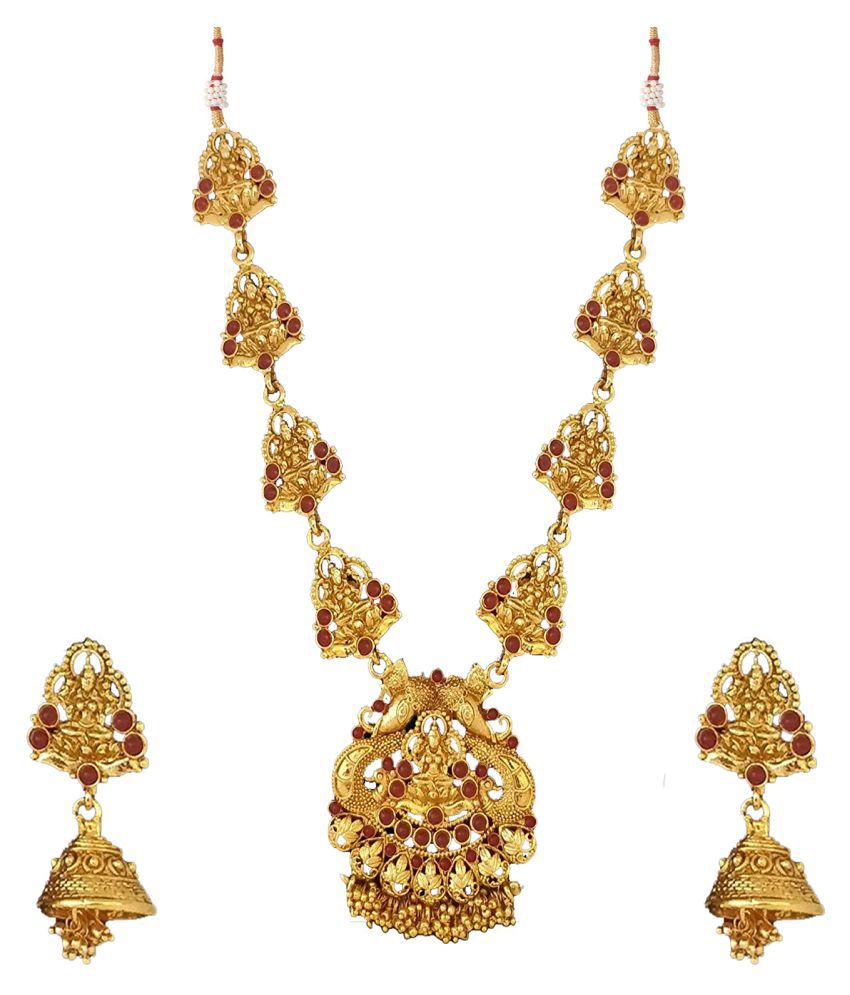 Om Jewells Traditional Temple Jewellery Necklace Set/Jewellery Set of Goddess\nLaxmi with Earrings for Women NL1000553