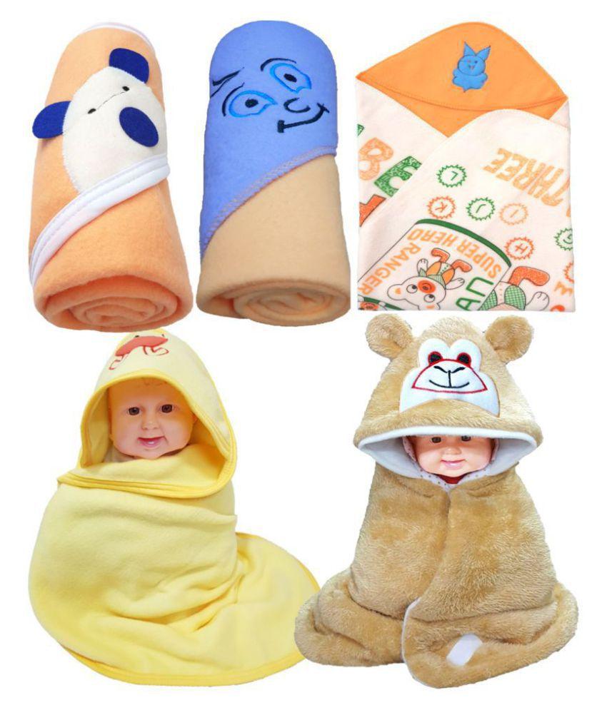 BRANDONN Beige Flannel New born Baby AC Blanket ( 76 cm - 76 cm- 5 pcs)