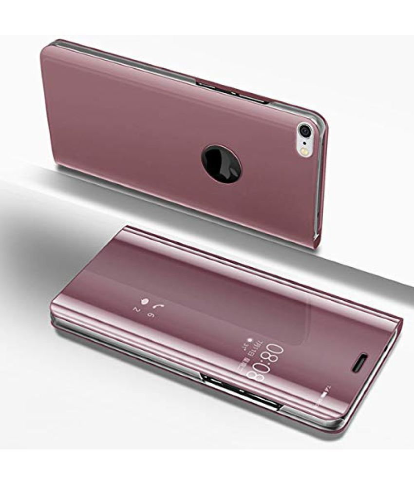Samsung Galaxy J6 Flip Cover by ELEF - Pink Clear View Mirror Flip Case With Media  Stand