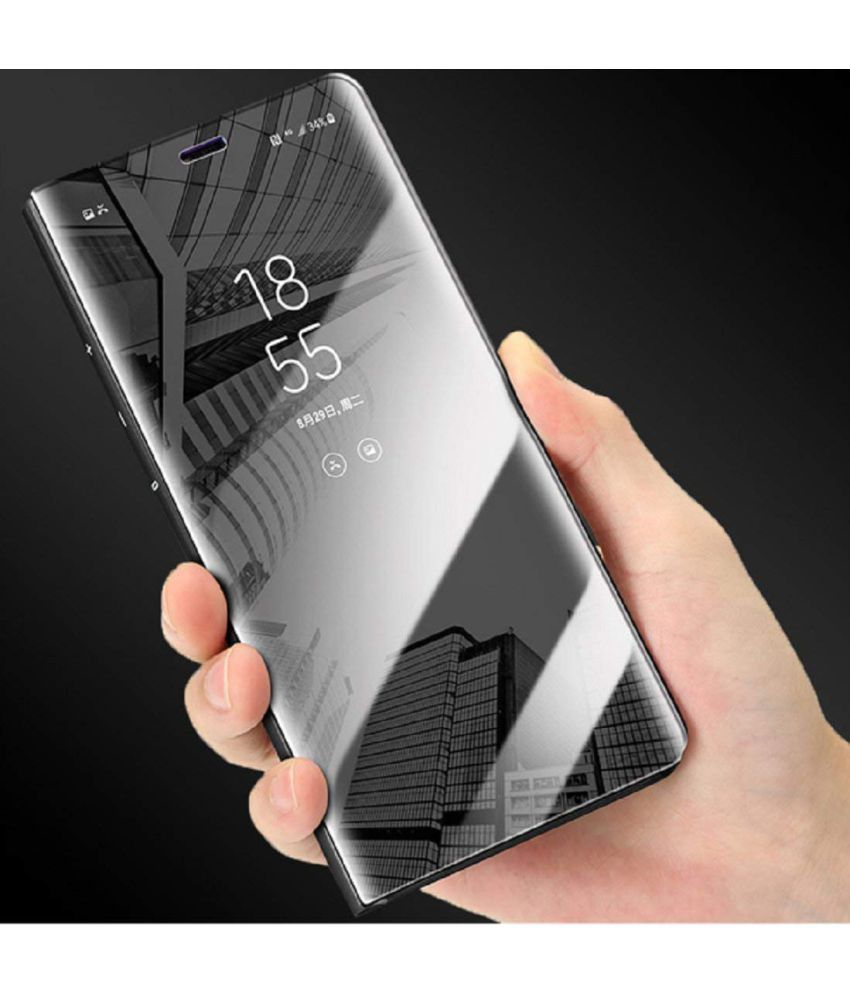 watch 2dec0 9b62f Samsung Galaxy J7 Prime Flip Cover by ELEF - Black Clear View Mirror Flip  Case With Media Stand