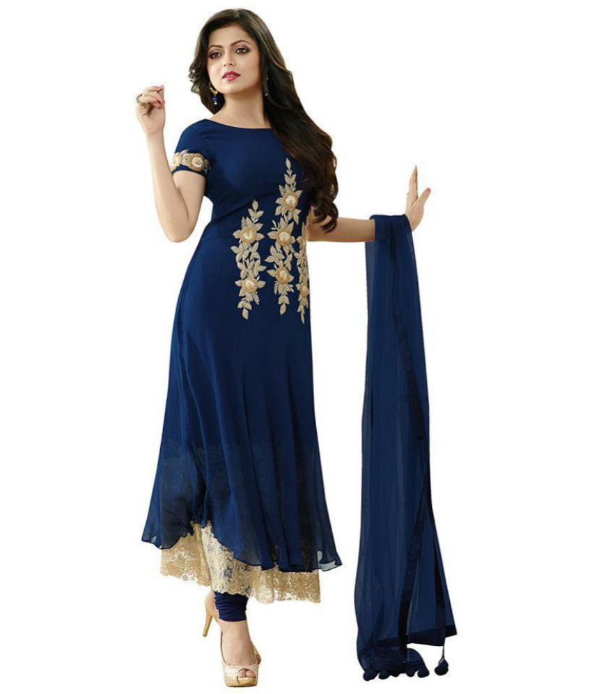 a7c8da1e Anarkali Salwar Suits Blue and Beige Georgette Anarkali Semi-Stitched Suit  - Buy Anarkali Salwar Suits Blue and Beige Georgette Anarkali Semi-Stitched  Suit ...