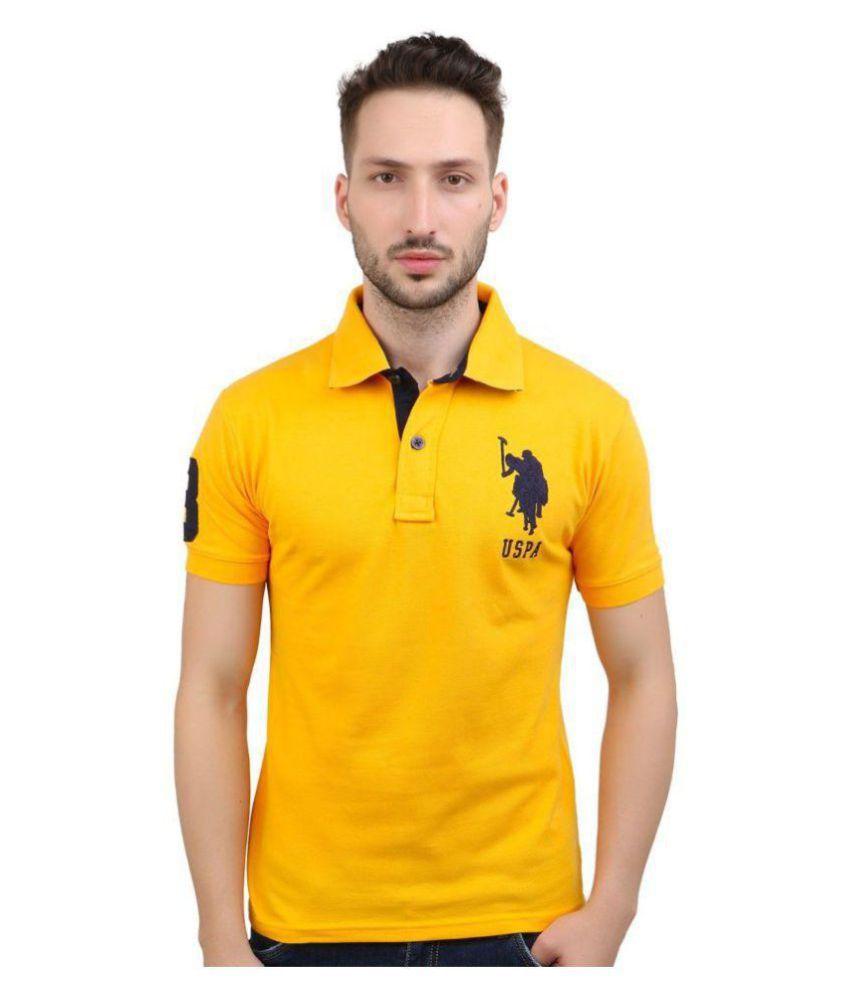 U S Polo Assn Yellow Regular Fit Polo T Shirt Buy U S Polo Assn