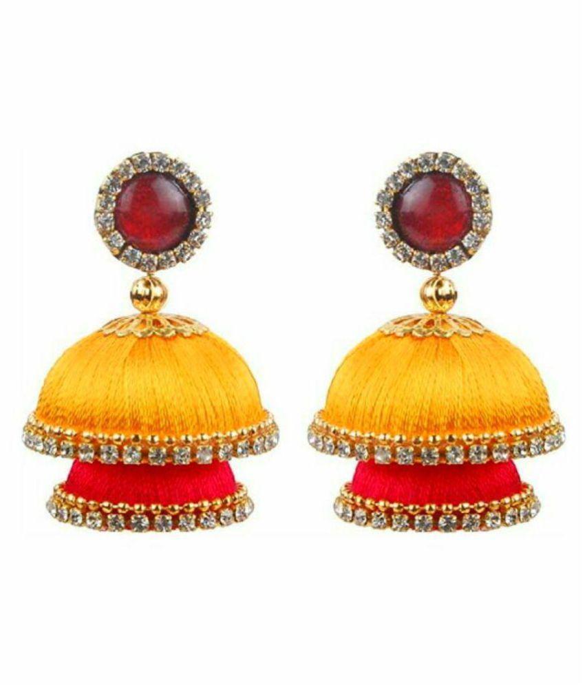 Designer multicolor silk jhumki earrings by AMMAJI FASHION