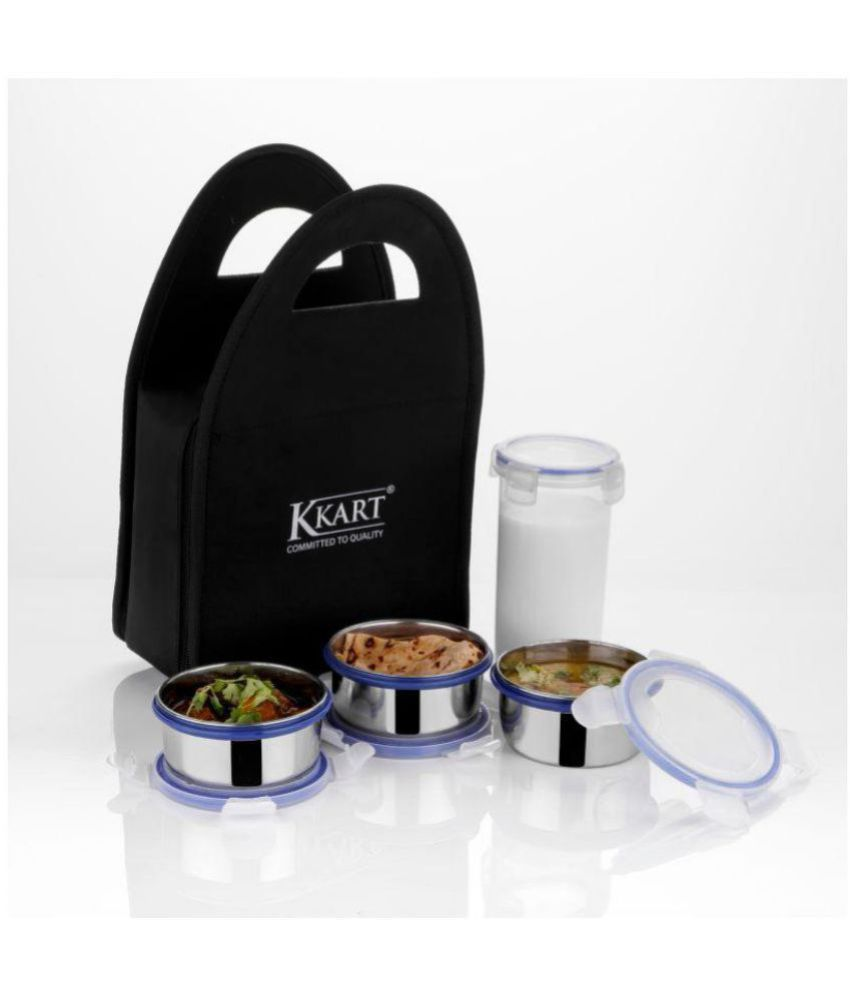 Kkart Multicolour Stainless Steel Clip Lock Lunch Box With 3