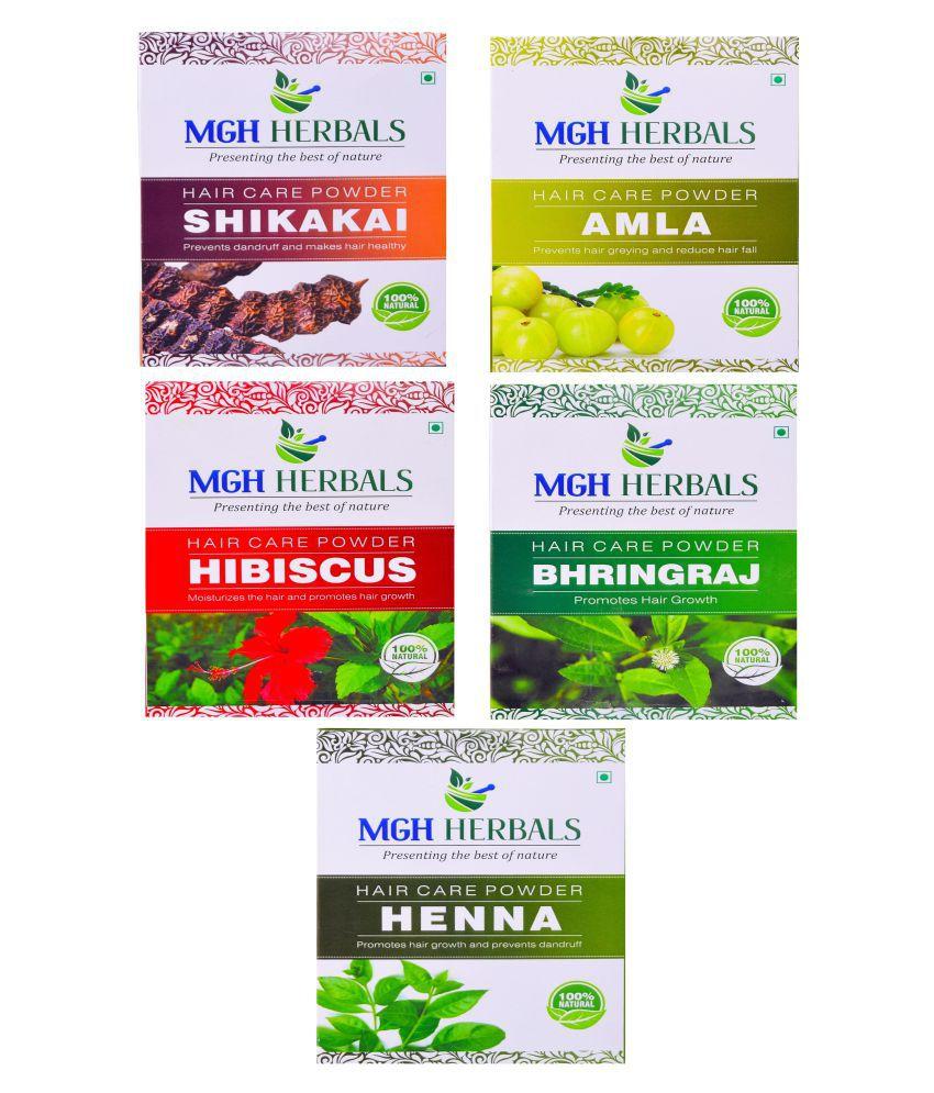 Mgh Herbals Shikakai Amla Hibiscus Bhingraj Henna Pack Of 5