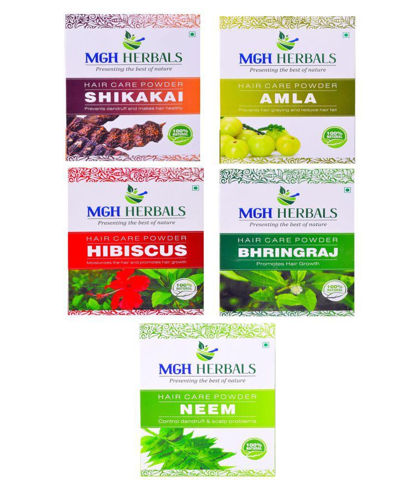 MGH Herbals Shikakai, Amla, Hibiscus, Bhingraj & Neem Leaf (Pack of 5)