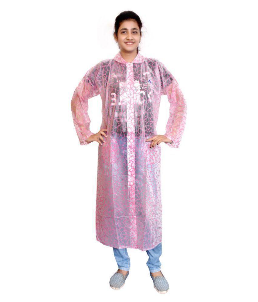 AD & AV Waterproof Nylon Long Raincoat - Pink