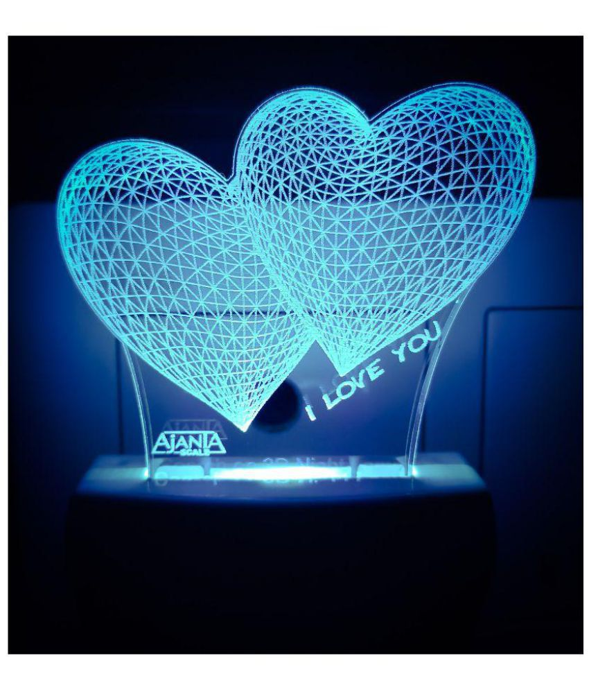 Ajanta I Love You Heart Code 2035 3d Night Lamp Multi Pack Of 1