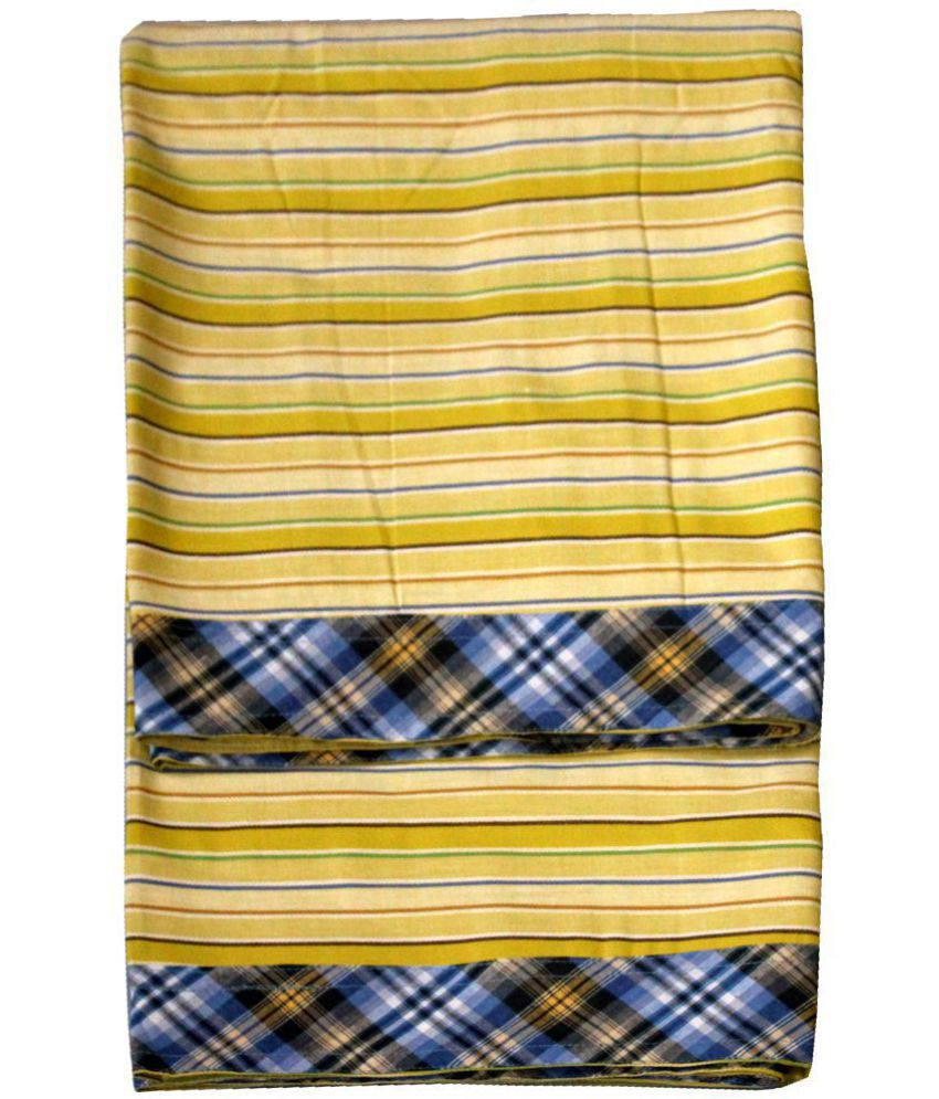Elan Dreams Single Cotton Yellow Stripes Top Sheet Set of 2