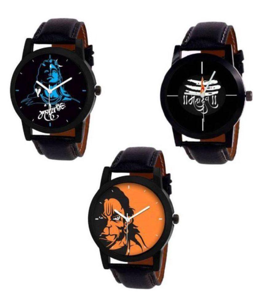 addfc9591 Newmen Mahadev Tilak Black Dial Black Leather Belt Combo with Angry Hanuman  Black Dial Leather Belt Top Selling Luxurious Design watch for men - Buy  Newmen ...