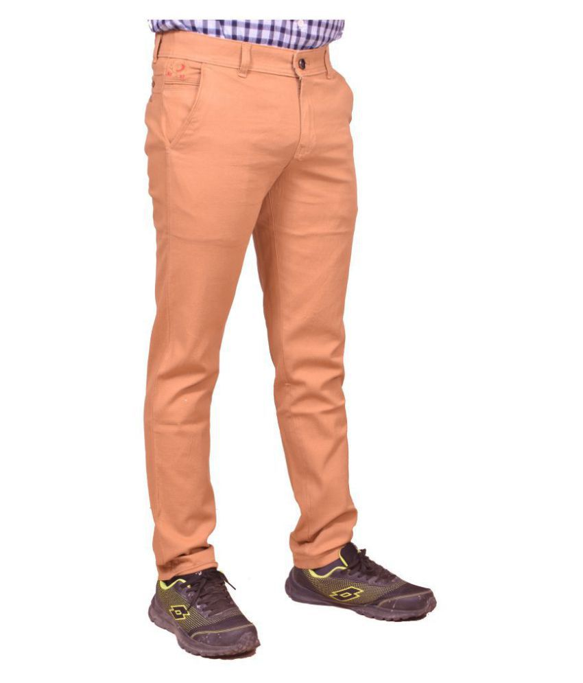 Just Trousers Brown Regular -Fit Flat Chinos