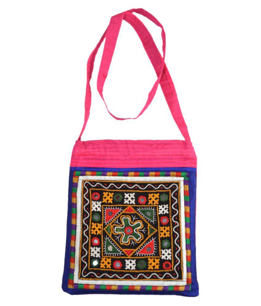 ETHNIC HAND BAG Multi Satin Sling Bag
