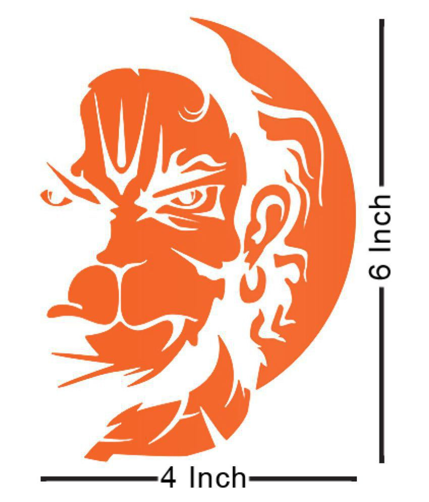 Vayuputhra hanuman orange colour vinyl stickers for bike scooter car scooty royal enfield bullet 6