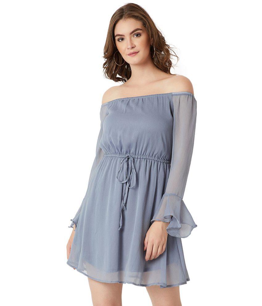 Miss Chase Chiffon Blue Skater Dress
