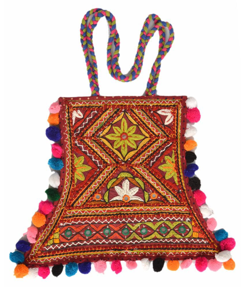 TRADITIONAL WOMEN HANDBAG Multi Cotton Shoulder Bag